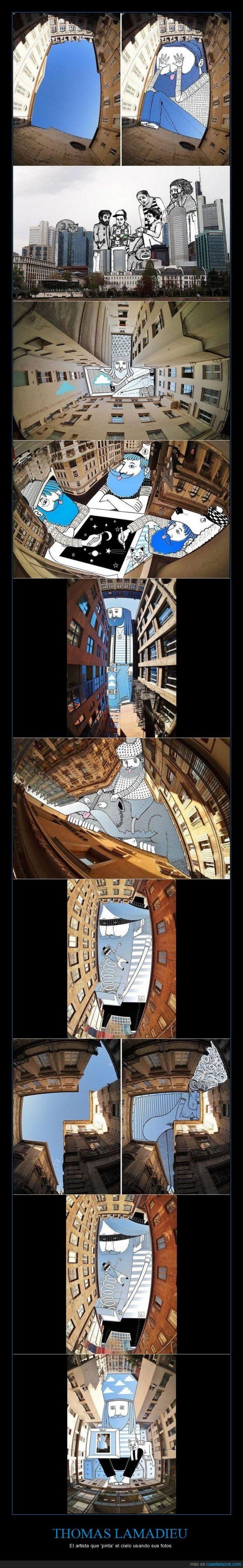 artista,dibujo,edificios,fotografía,fotografías-ilustraciones,lentes ojo de pez,rascacielos,Sky Art,Thomas Lamadieu