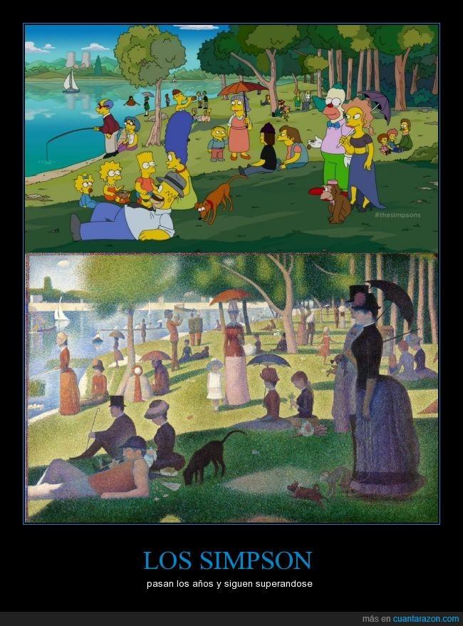 arte,cuadro,genio,homenaje,impresionismo,los,Seurat,simpson,simpsons,tarde de domingo en la isla de la grande jatte