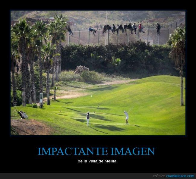 dinero,golf,inmigrantes,jugando como si no pasara nada,Melilla,ONG Prodein,pobre,rico,saltar,valla