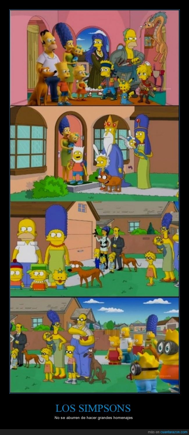 adventure time,adyudante de santa,bart,homenaje,homer,homero,lego,lisa,los simpsons,maggie,marge,minions,south park
