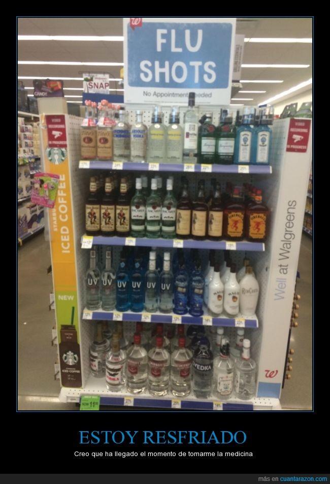 alcohol,bebidas,jarabe,medicina,resfriado,te deja sano en un momento,wallgreen's