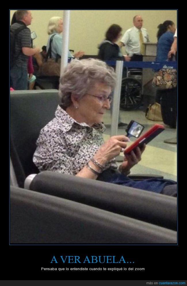 abuela,ebook,leer,lupa,mayor,mirar,señora,tablet,tamaño