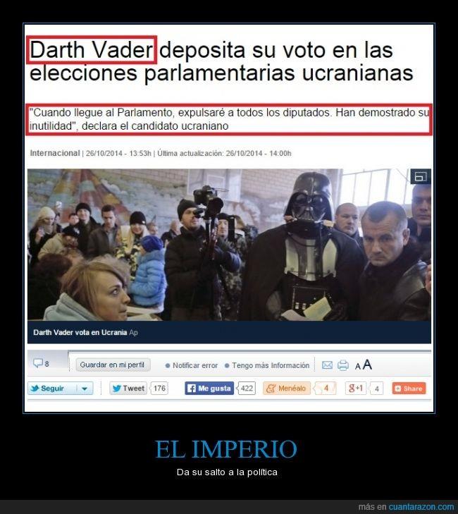Darth Vader,Disfraz,Parlamento,Política,Que cachondo el tío,Ucraina,Votar