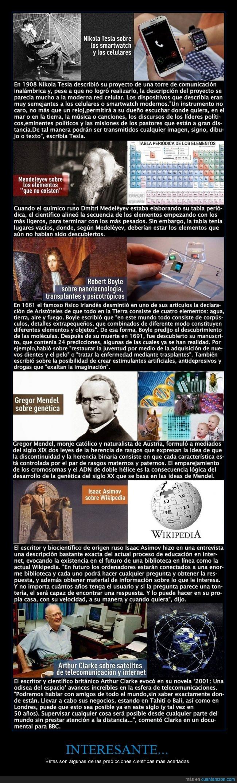 acertadas,Arthur Clarke,celulares,Dmitri Medeléyev,genética,Gregor Mendel,Interesante,Internet,Isaac Asimov,nanotecnología,Nikola Tesla,predicciones cientificas,Robert Boyle,satélites,smatrh watch,tabla periódica,telecomunicaciones,trasplantes,Wikipedia
