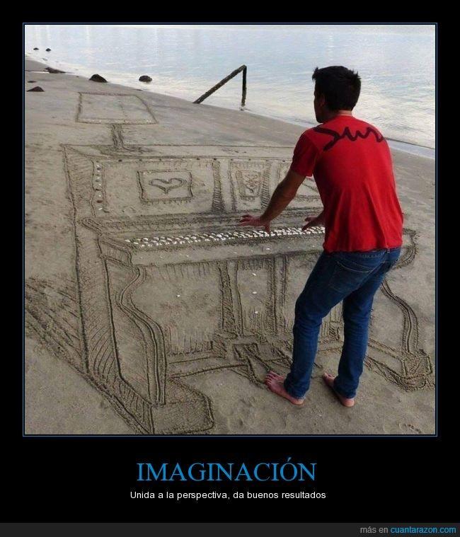 imaginación,música,perspectiva,piano,playa