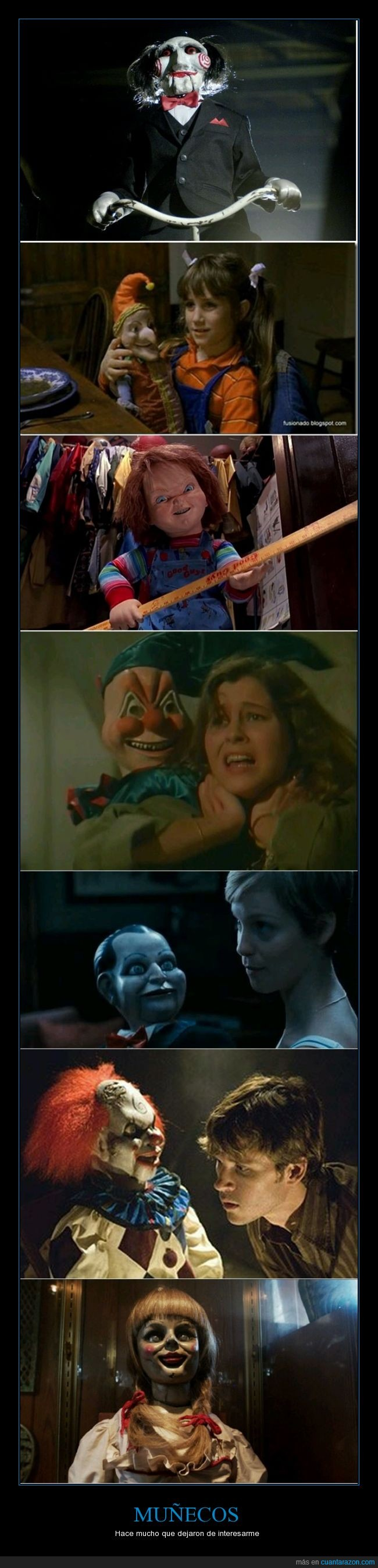 annabelle,chucky,el titere,genero,miedo,muñecos,peliculas,poltergeist,saw,terror