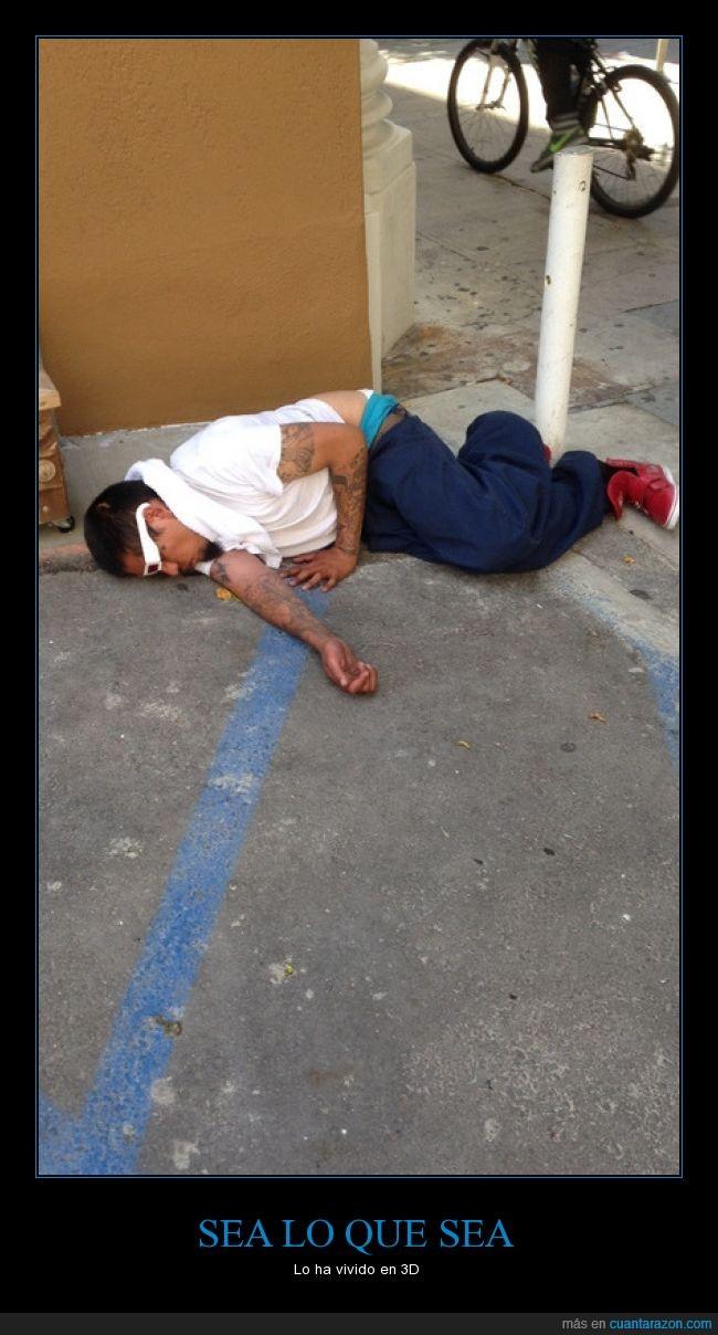 3D,al suelo,dormido,gafas,hacer