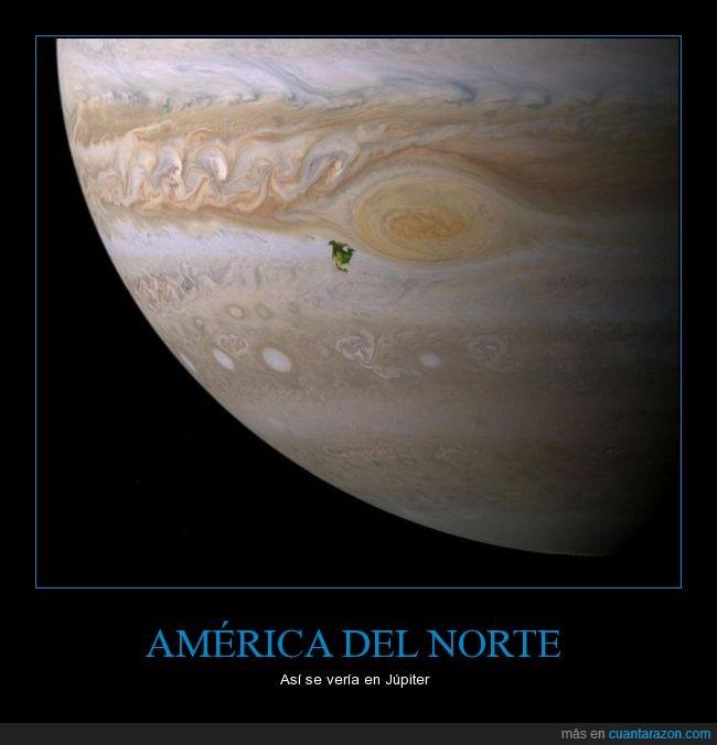 América del Norte,asteroide,espacio,grande,Júpiter,pequeño,planeta