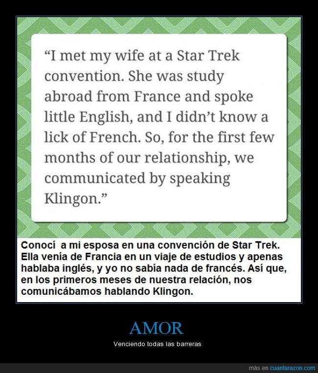 amor,convención,francés,idioma,inglés,Klingon,pareja,Star Trek
