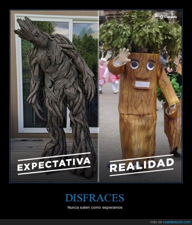 disfraz,expectativa,groot,guardianes de la galaxia,realidad