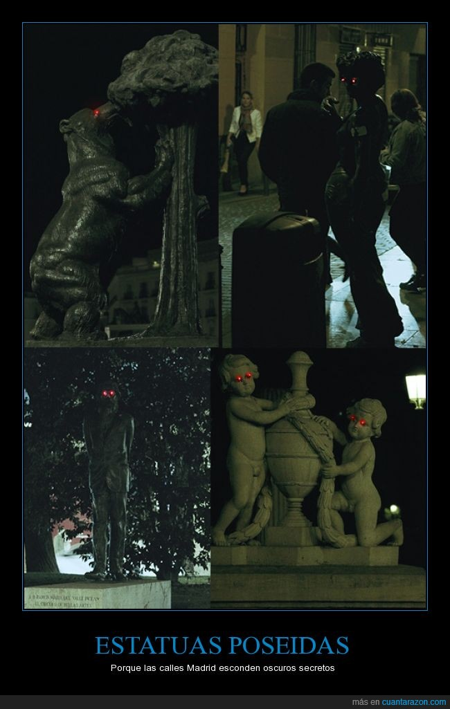 estatuas,evil,eyes,halloween,led,luz,madrid,miradas,ojos,personas,poseidas,rojos