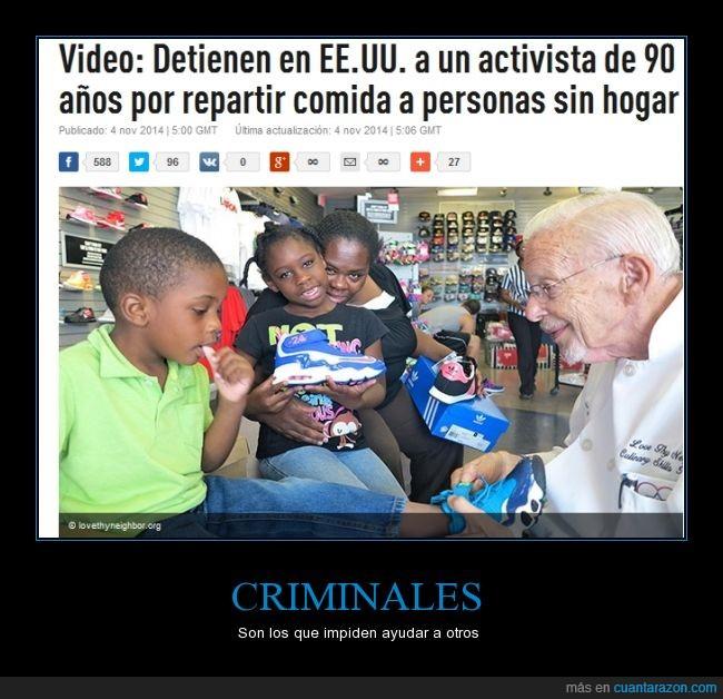 90 años,Activista,EEUU,Prohiben ayudar