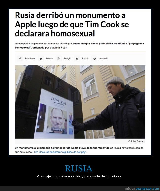 apple,gay,homofobia,homosexual,monumento,retirar,steve jobs,tim cook