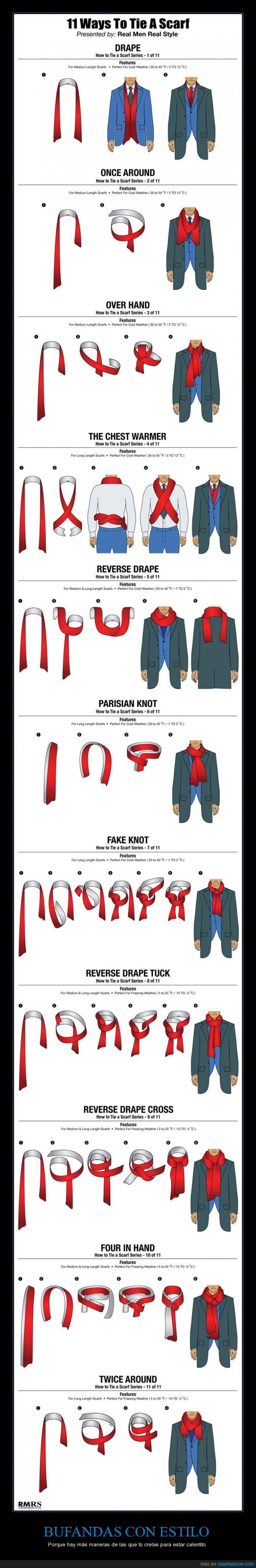 bufanda,instrucciones,invierno,largo,lazo,nudo,pañuelo,truco,tutorial,vuelta