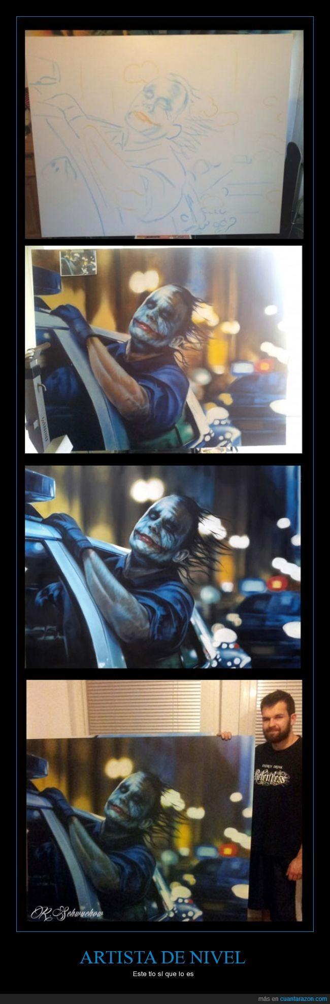artista,batman,de nivel,fotograma,Joker,lienzo,pintar,pintura,realista