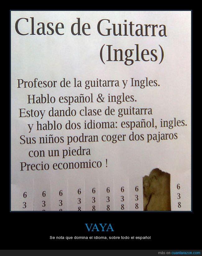 anuncio,clases,español,guitarra,hablar,idioma,ingles,piedra,tiro