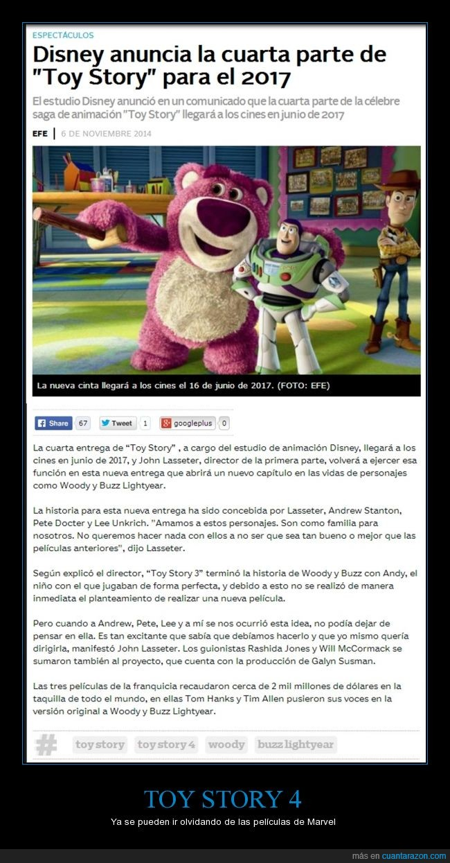 2017,Buzz Lightyear,secuela,Toy Story,Toy Story 4,Woody