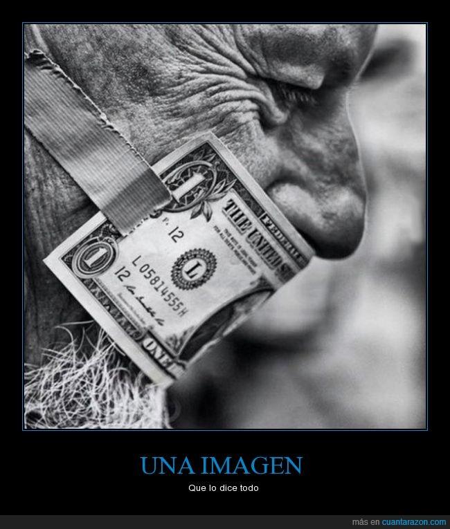 billete,boca,callar,dinero,mordaza