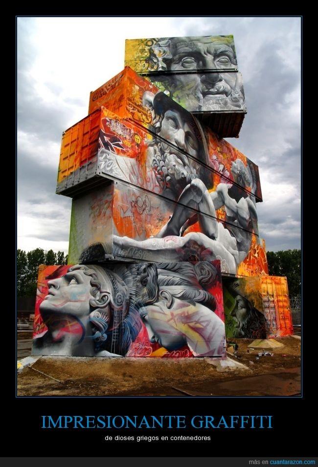 apilados,arte,contenedores,graffiti,griegos,pintura