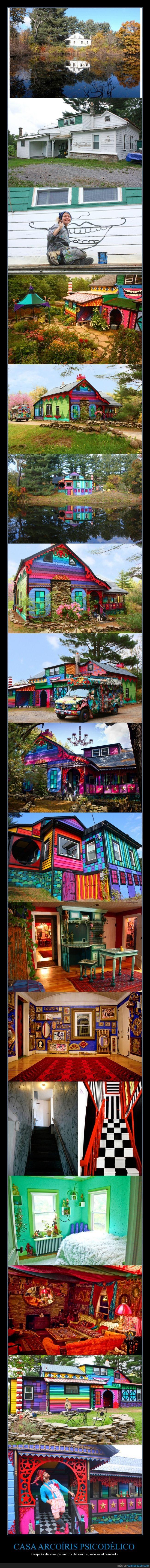 arcoíris,arte,artista,bosque,cabaña,casa,color,colorines,diferente,friki,kat wise,medio,pintar,psicodelica,rar