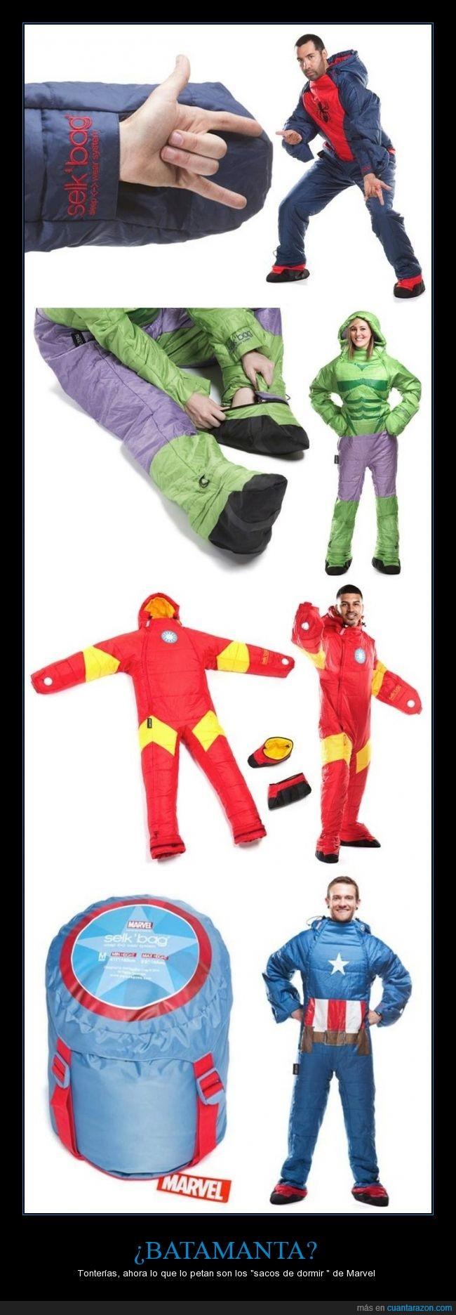 batamanta,capitan america,dormir,hulk,iron man,marvel,piernas,saco,spiderman