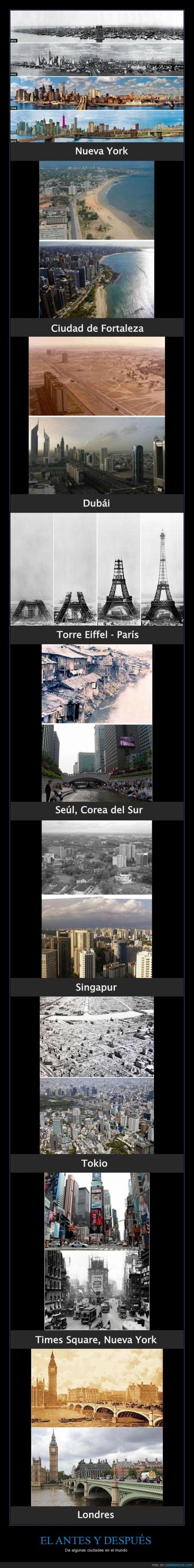 antes y después,Brasil,Ciudad de Fortaleza,ciudades,Corea del Sur,Dubái,Francia,Inglaterra,Londres,mundo,Nueva York,París,Seúl,Singapur,Times Square,Tokio