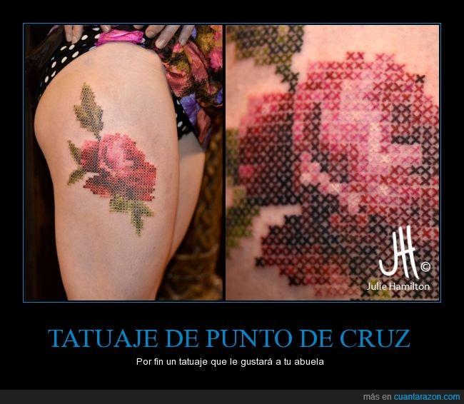 chica,coser,costura,cruz,flor,pierna,punto de cruz,tatuaje