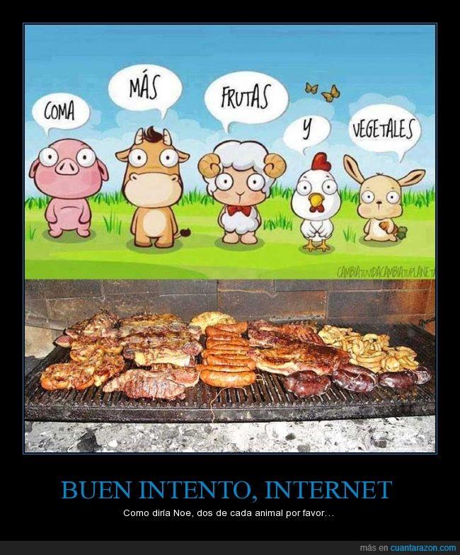 animales,asado,carne,comer,frutas,parrilla,vegetariano,verduras