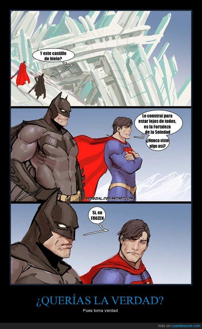 batman,elsa,fortaleza,frio,frozen,hielo,sueltalo,superman