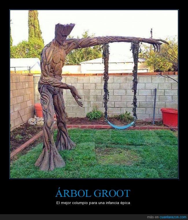 árbol,columpio,Groot,guardianes de la galaxia,jardín,juego,película