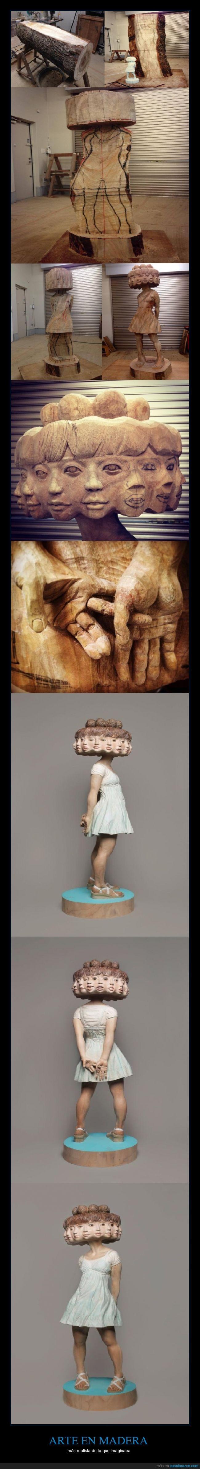 chica,ebanistas,esculpir,escultura,madera,realismo