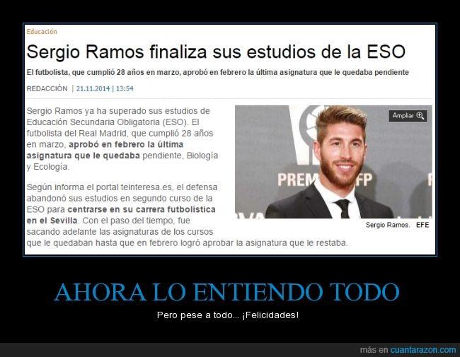 acaba,ESO,estudios,graduado,nivel,Sergio Ramos