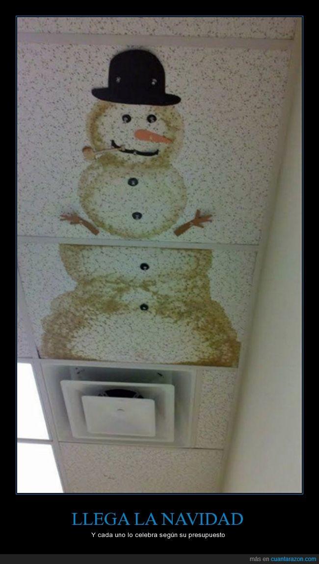 aprovechar,arreglar,humedad,mancha,muñeco de nieve,techo