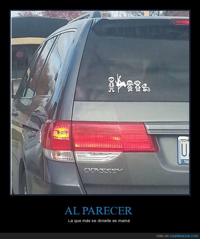 barra,coche,familia,mama,pegatina,pole dancing,trabajo