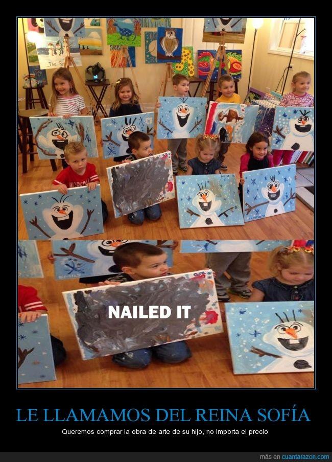 arte,cansado,cuadro,enseñar,frozen,harto,hijo,niño,olaf