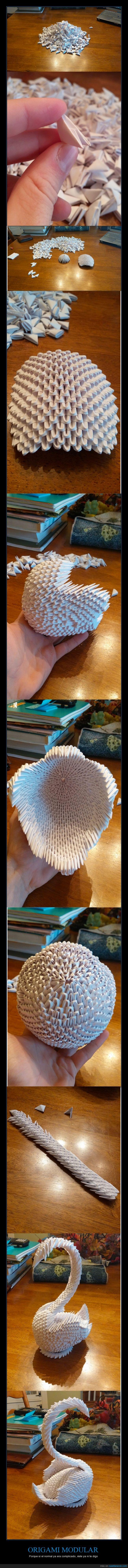 alas,arte,ave,cisne,complicado,modular,origami,papiroflexia,pato