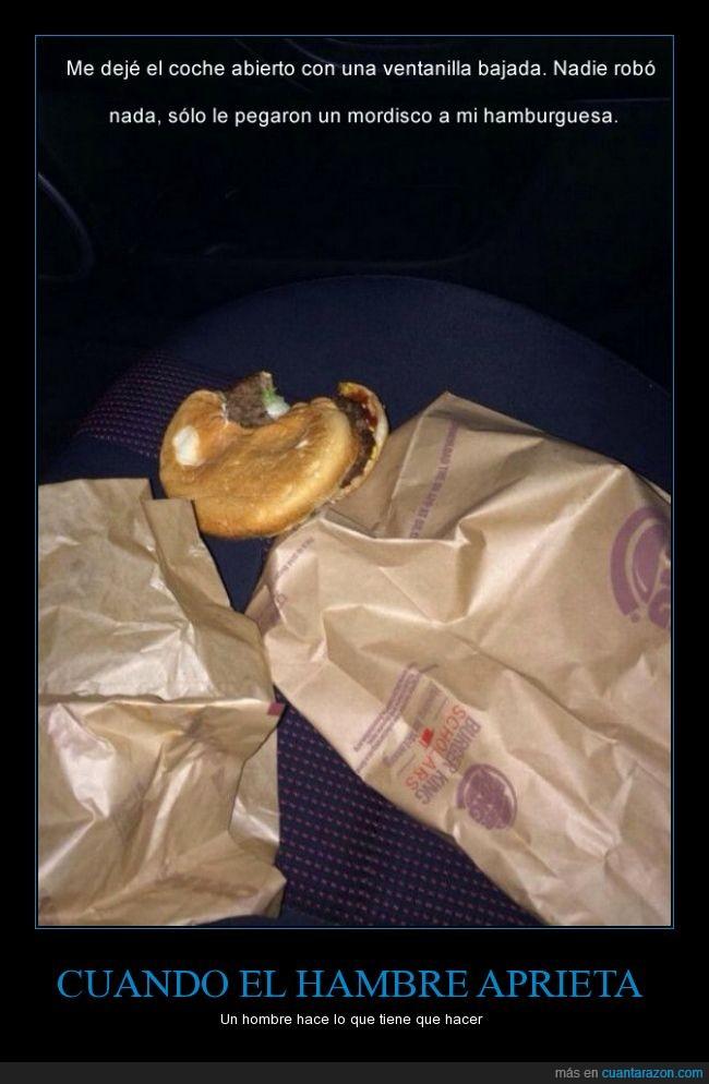 abierto,bocado,coche,comer,comida,dejar,hambre,hamburguesa,mordisco,robar
