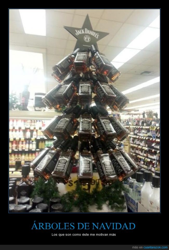 árbol,bebida,botellas,centro comercial,comprar,humor,Jack Daniel's,supermercado,tienda,whisky