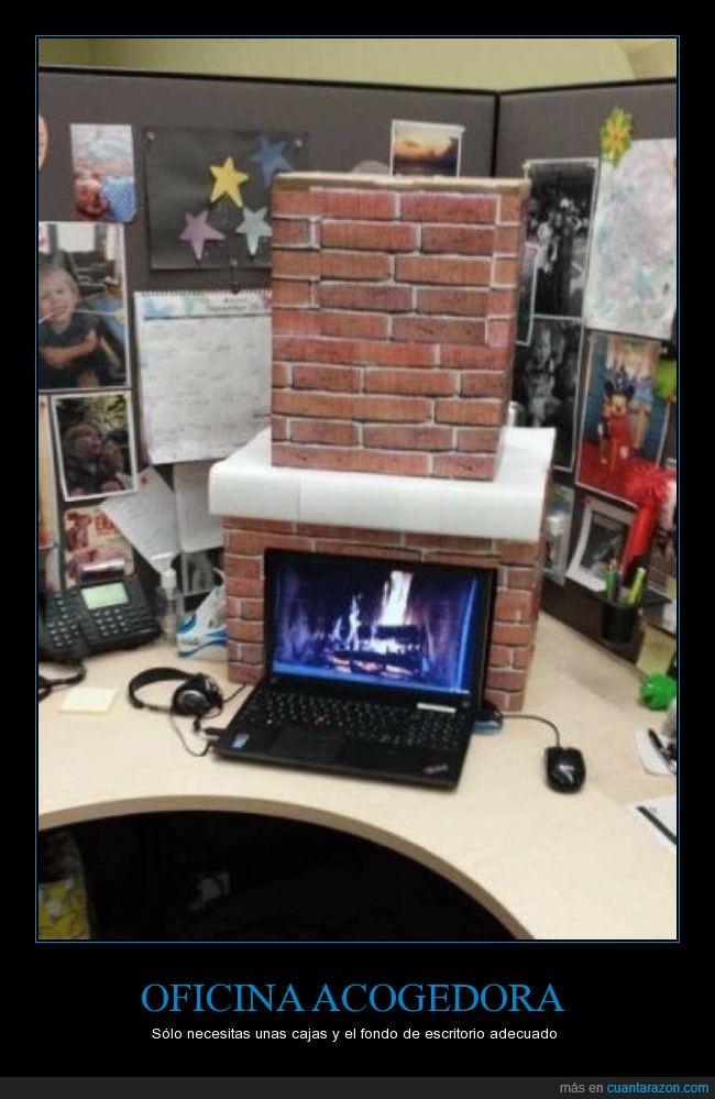 casa,chimenea,fuego,hogar,leña,oficina,ordenador,portatil