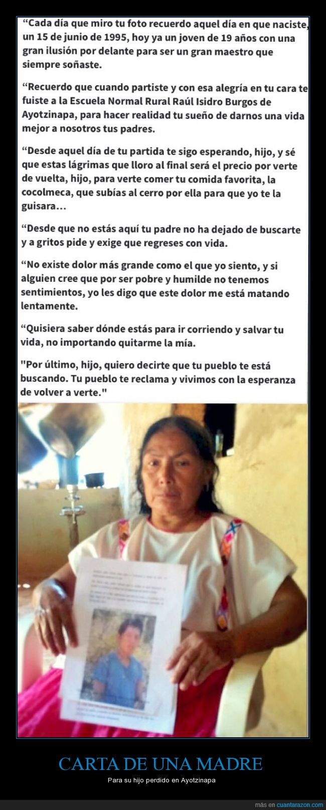 amor,asesinado,asesinato,ayotzinapa,buscar,comida,desesperada,dinero,estudios,hijo,Madre,maestro,mexico,perdido,pobre
