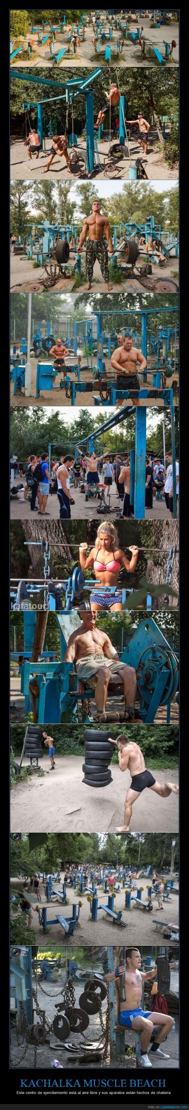 Cachemira Jagelsky,chatarra,ejercitamiento al aire libre,gimnasio,Isla de Tuhev,Kachalka Muscle Beach,Ucrania,Un gimnasio para hombres ¡y no 'payasos'!,Yuri Kuk