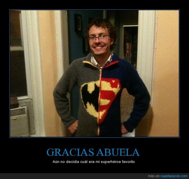 abuela,batman,feliz navidad,jersey,mitad,superman