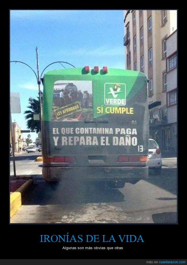 autobus,contaminacion,contaminar,ironia,motor,publico,suciedad,sucio,transportar,transporte,tubo de escape