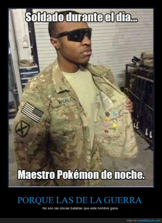 chico,escondida,gafas de sol,guerra,medallas,negro,Pokemon,soldado,uniforme