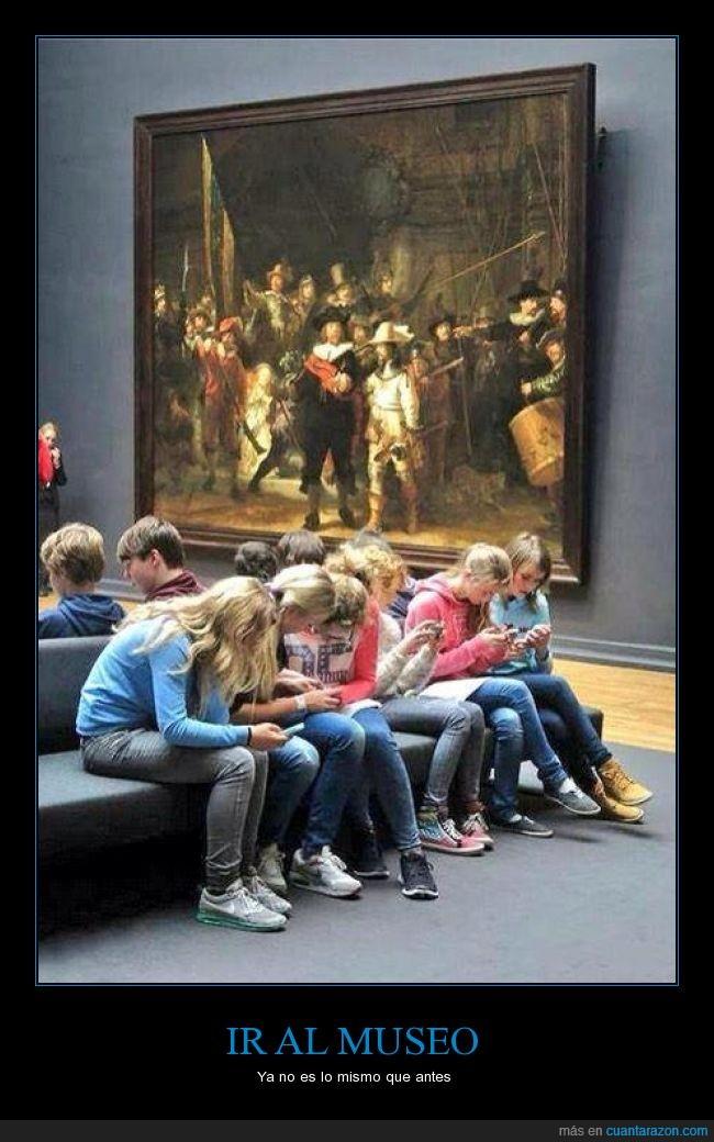 adicción,arte,estudiantes,museo,smartphone
