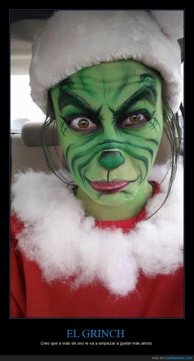 grinch,maquillaje,mujer,navidad,navidades arruinadas,traje de papa noel