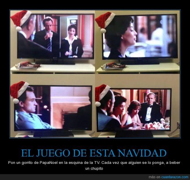 beber,chupito,gorrito,gorro,juego,navidad,papanoel,televisor,tv