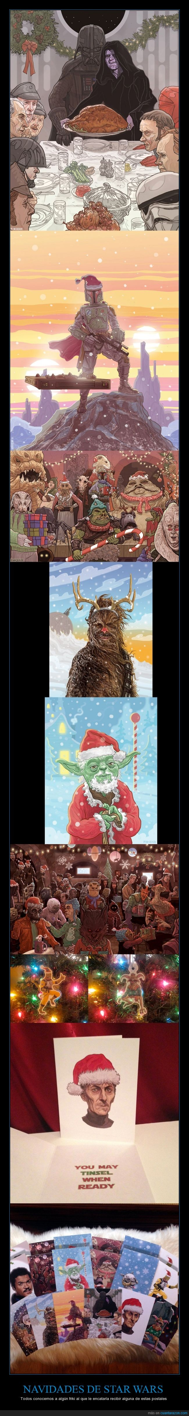 friki,gorro,la guerra de las galaxias,navidad,navideña,navideño,papa noel,PJ McQuade,postal,star wars,yoda