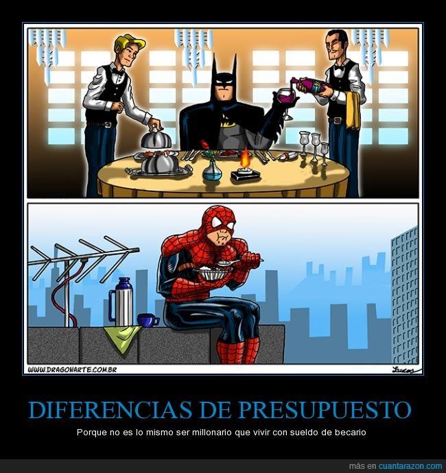 Batman,bruce wayne,comer,dinero,Feliz,Helado,peter parker,pobre,rico,Spiderman,termo,tupper