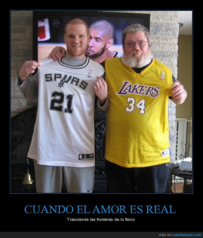 abrazo,amor,beso,camisas,lakers,love,photobomb,real,spurs,television,Tim Duncan